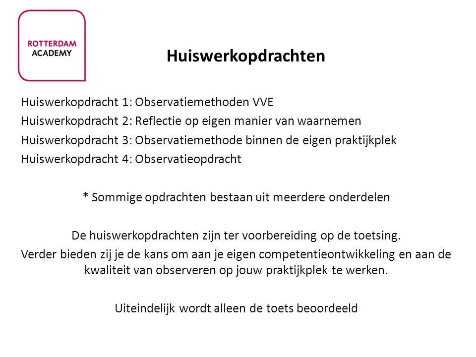 Huiswerkopdrachten Huiswerkopdracht 1: Observatiemethoden VVE