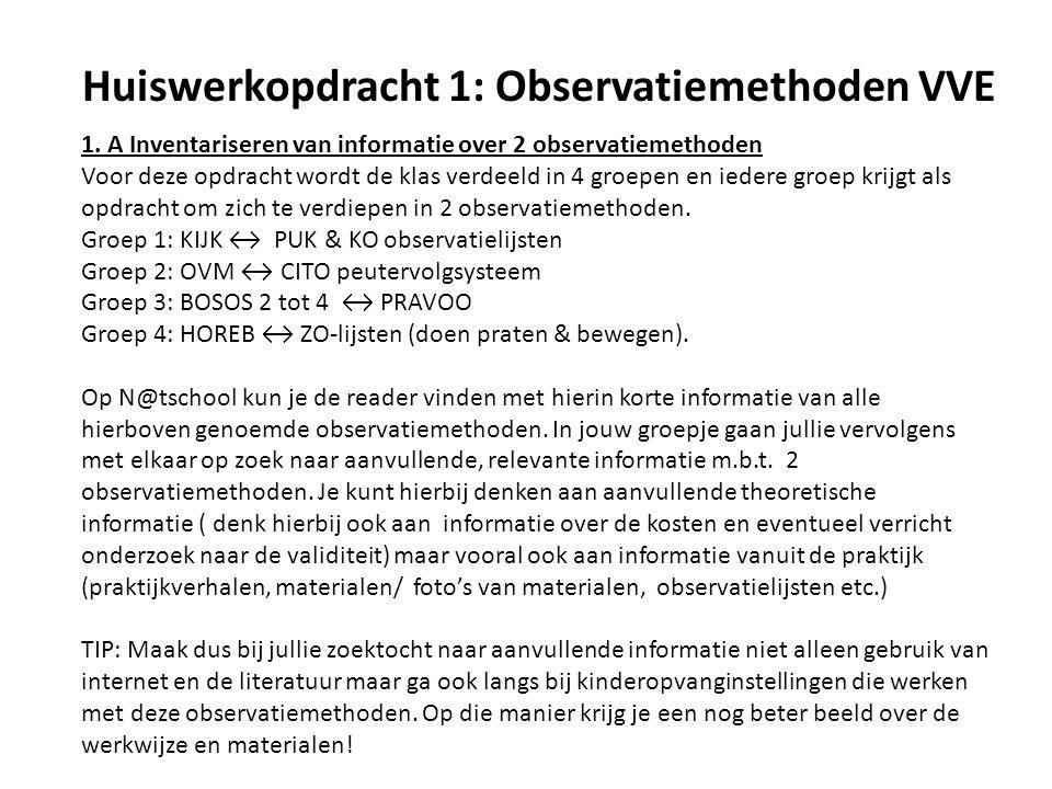 Huiswerkopdracht 1: Observatiemethoden VVE