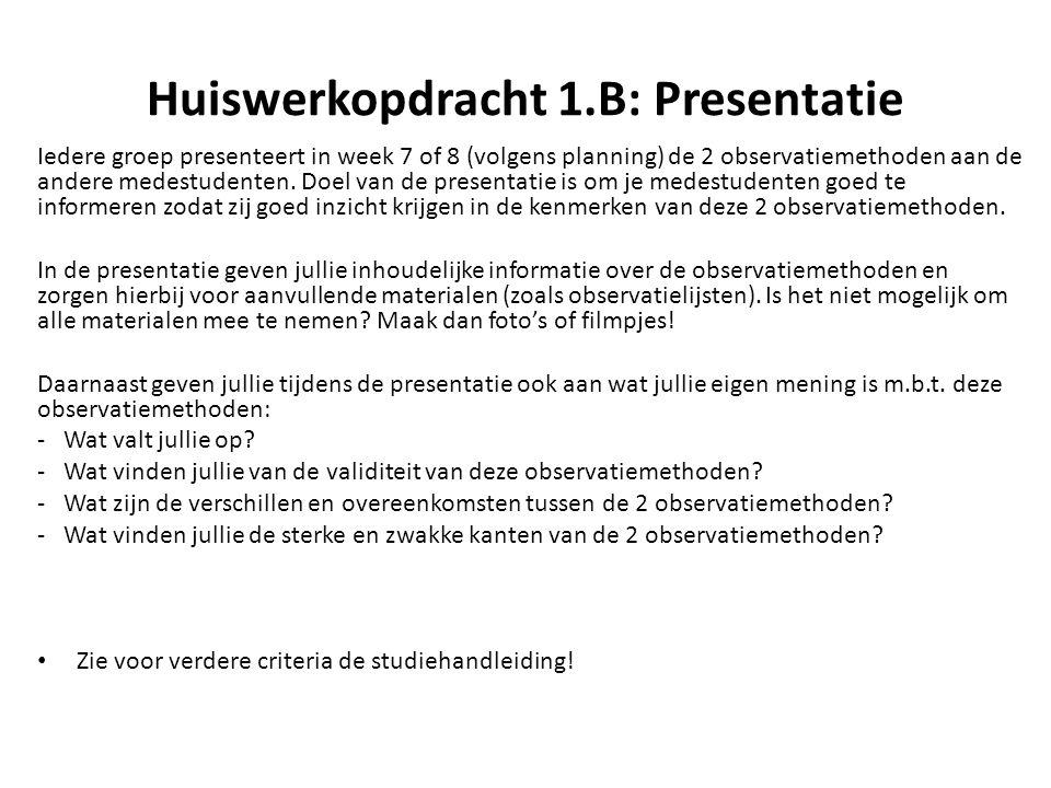 Huiswerkopdracht 1.B: Presentatie