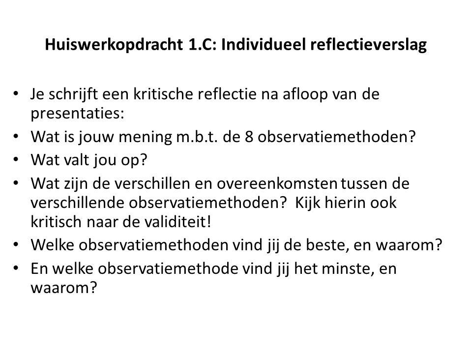 Huiswerkopdracht 1.C: Individueel reflectieverslag