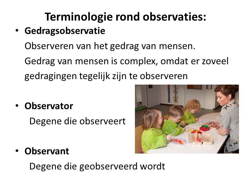 Terminologie rond observaties: