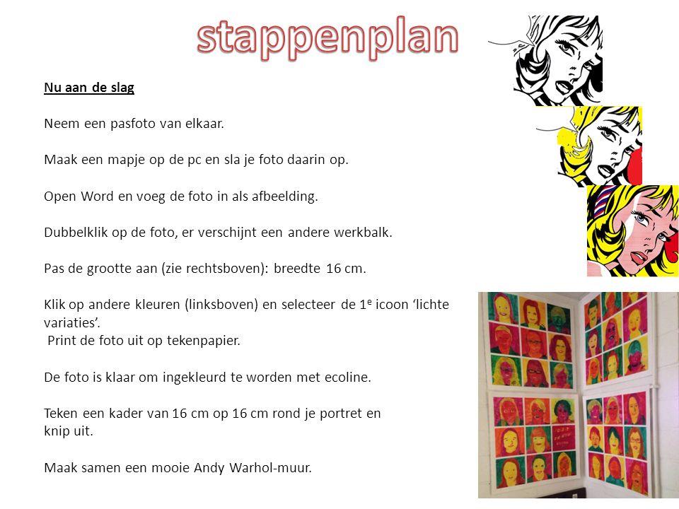 stappenplan Nu aan de slag Neem een pasfoto van elkaar.