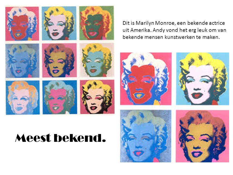 Dit is Marilyn Monroe, een bekende actrice uit Amerika