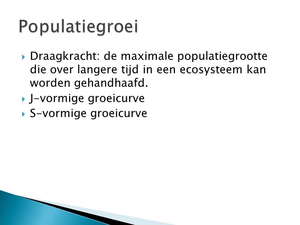 Populatiegroei Draagkracht: de maximale populatiegrootte die over langere tijd in een ecosysteem kan worden gehandhaafd.