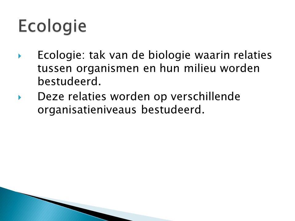Ecologie Ecologie: tak van de biologie waarin relaties tussen organismen en hun milieu worden bestudeerd.