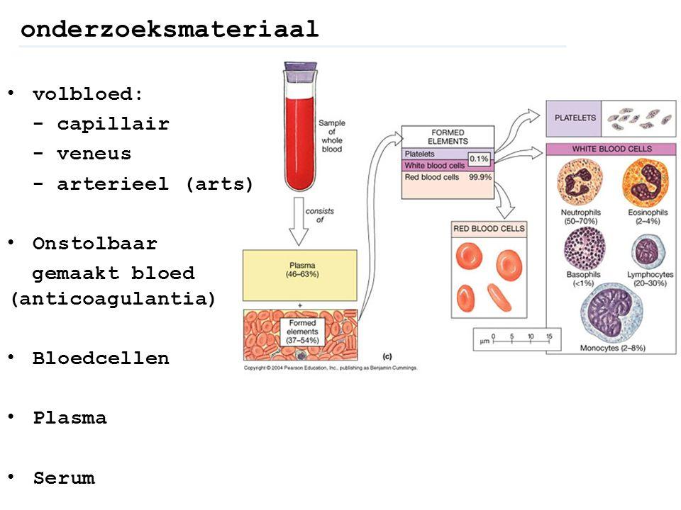 onderzoeksmateriaal volbloed: - capillair - veneus - arterieel (arts)