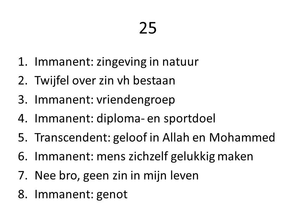 25 Immanent: zingeving in natuur Twijfel over zin vh bestaan