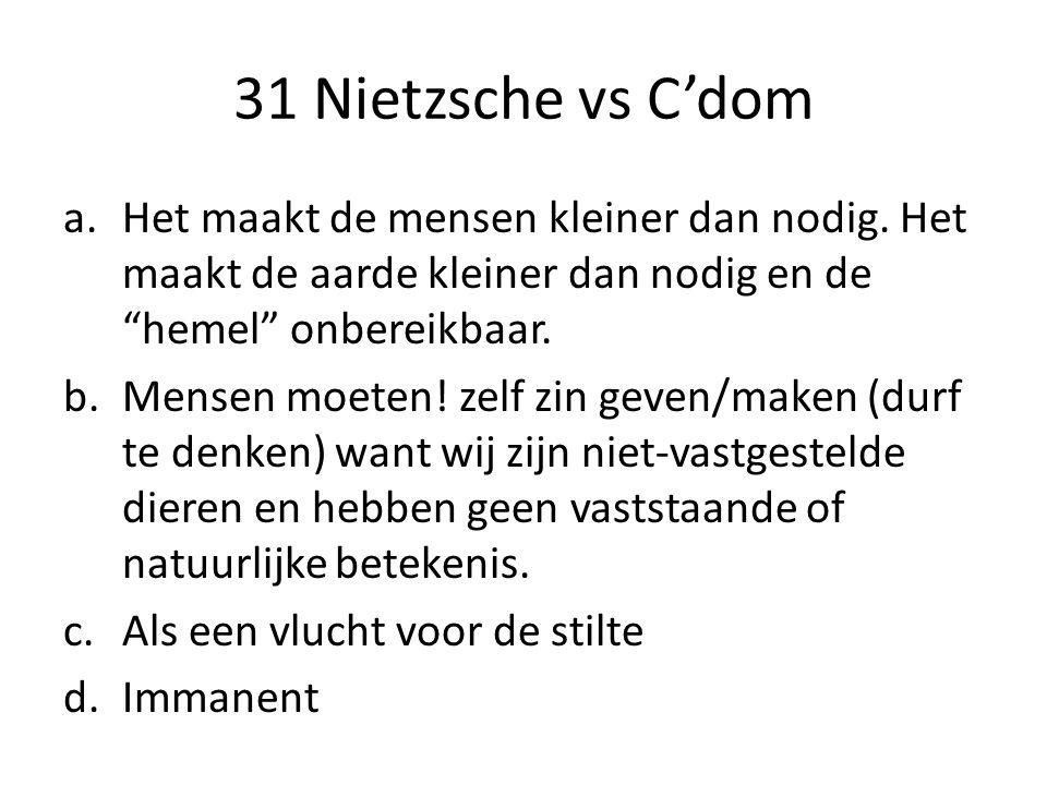 31 Nietzsche vs C'dom Het maakt de mensen kleiner dan nodig. Het maakt de aarde kleiner dan nodig en de hemel onbereikbaar.