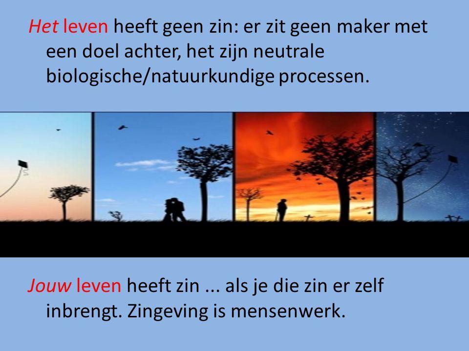 Het leven heeft geen zin: er zit geen maker met een doel achter, het zijn neutrale biologische/natuurkundige processen.