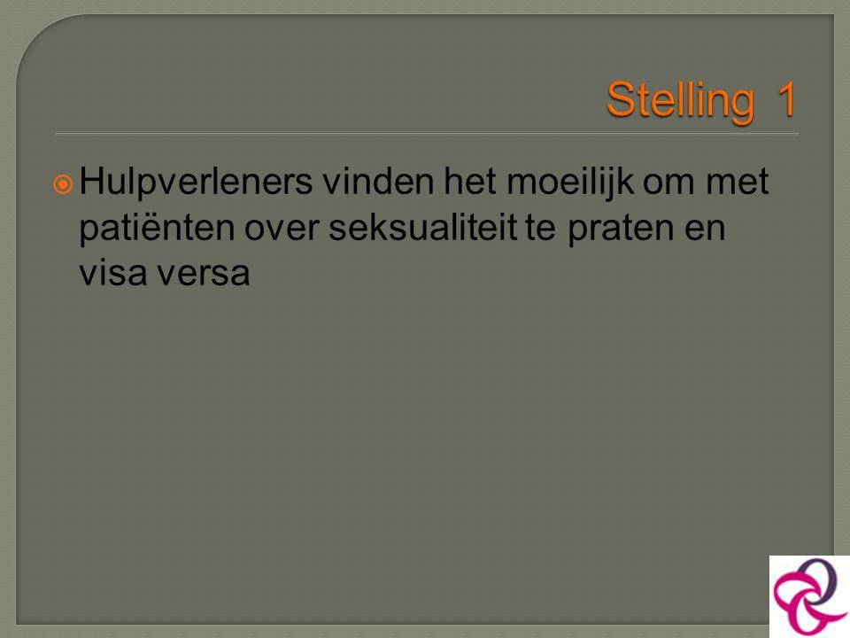 Stelling 1 Hulpverleners vinden het moeilijk om met patiënten over seksualiteit te praten en visa versa.