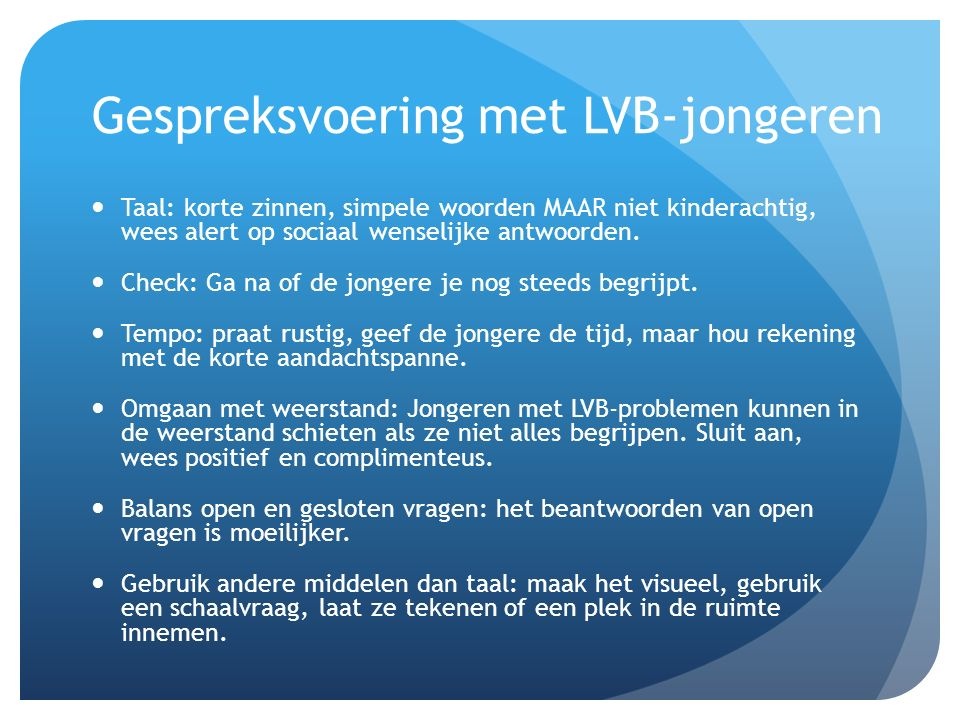 Gespreksvoering met LVB-jongeren
