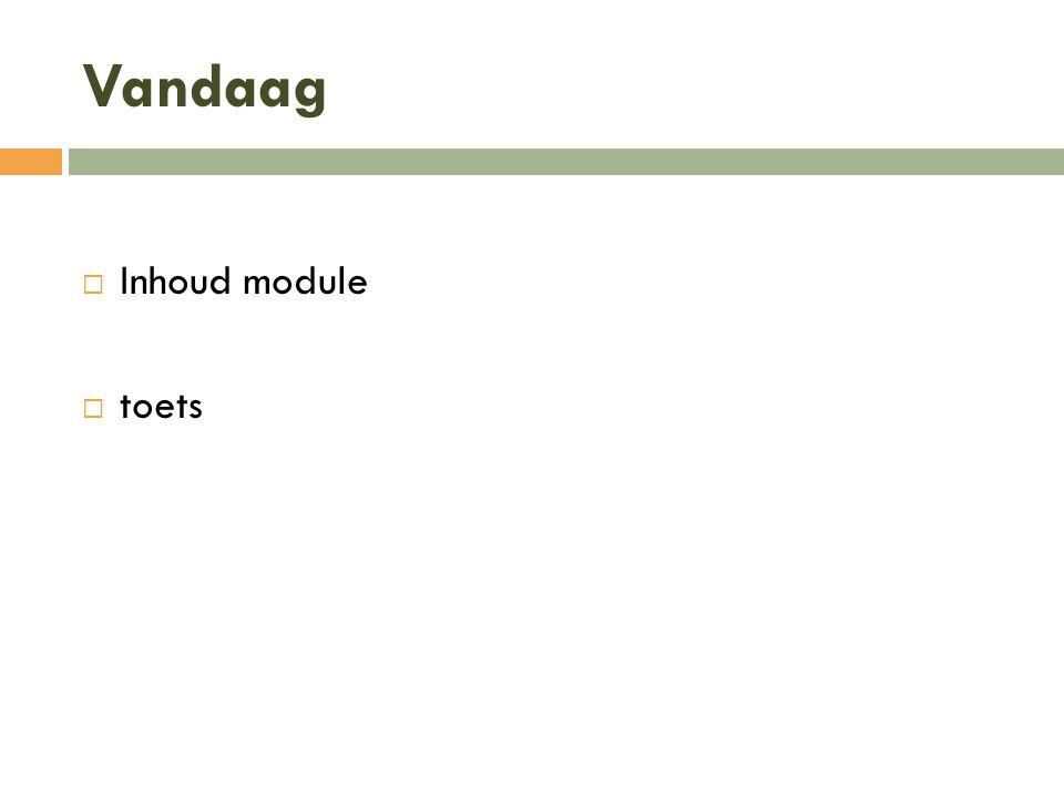 Vandaag Inhoud module toets
