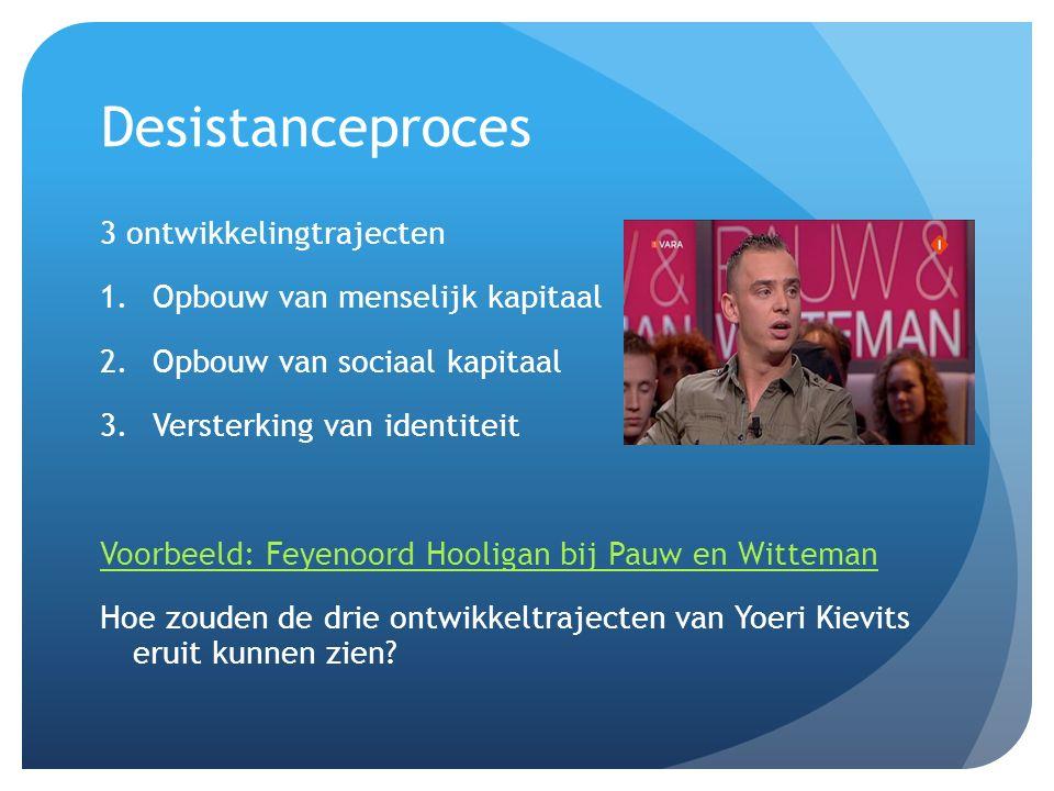 Desistanceproces 3 ontwikkelingtrajecten Opbouw van menselijk kapitaal