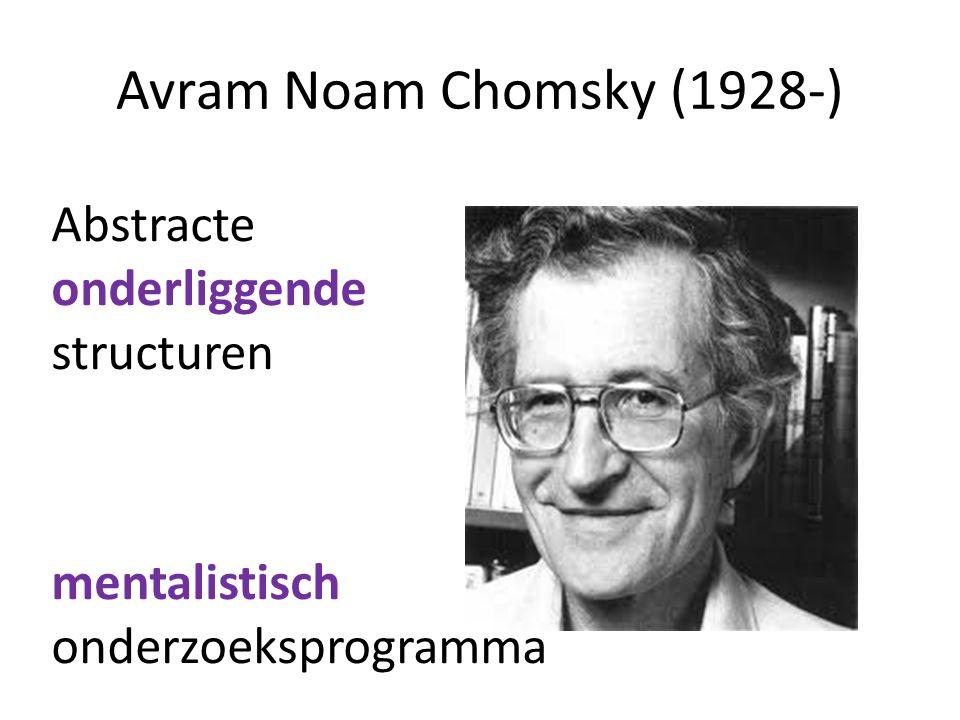 Avram Noam Chomsky (1928-) Abstracte onderliggende structuren mentalistisch onderzoeksprogramma