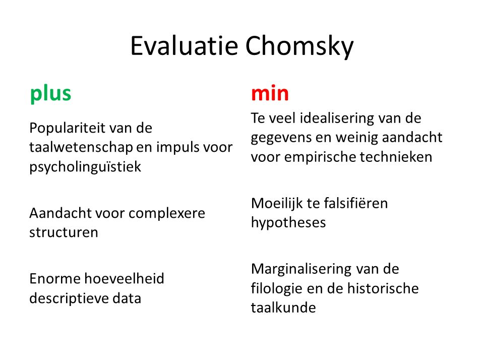 Evaluatie Chomsky plus min