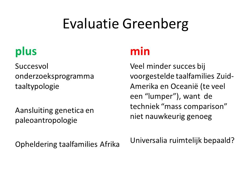 Evaluatie Greenberg plus min