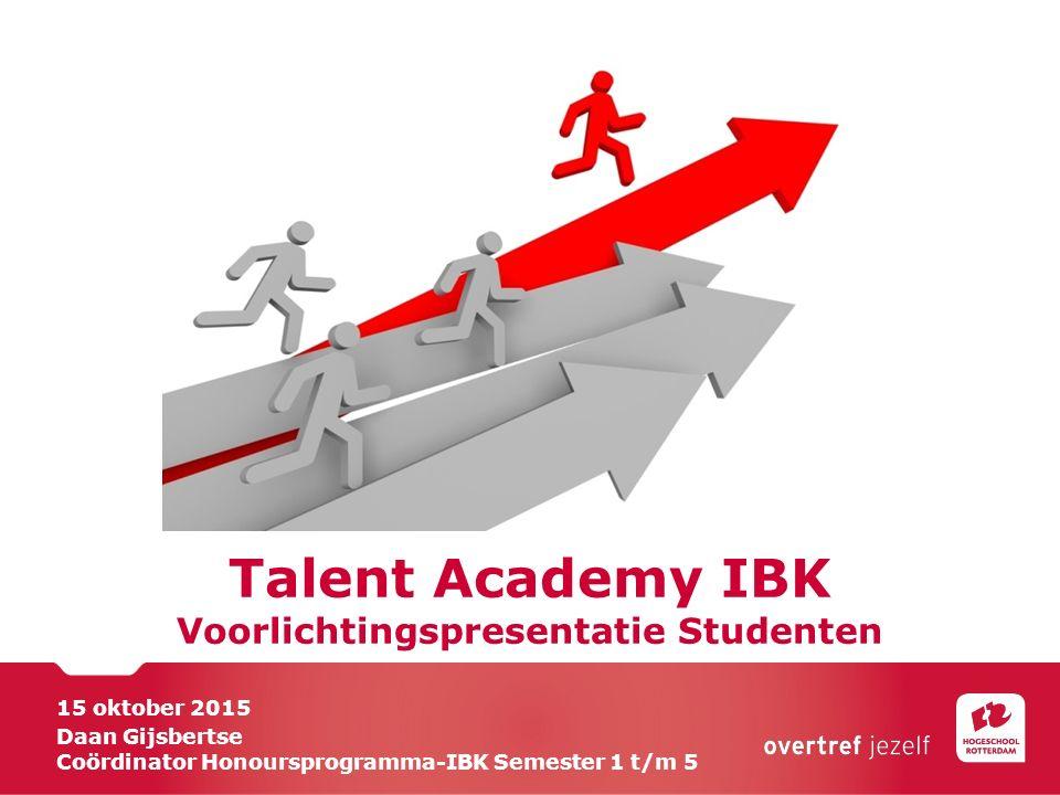 Talent Academy IBK Voorlichtingspresentatie Studenten