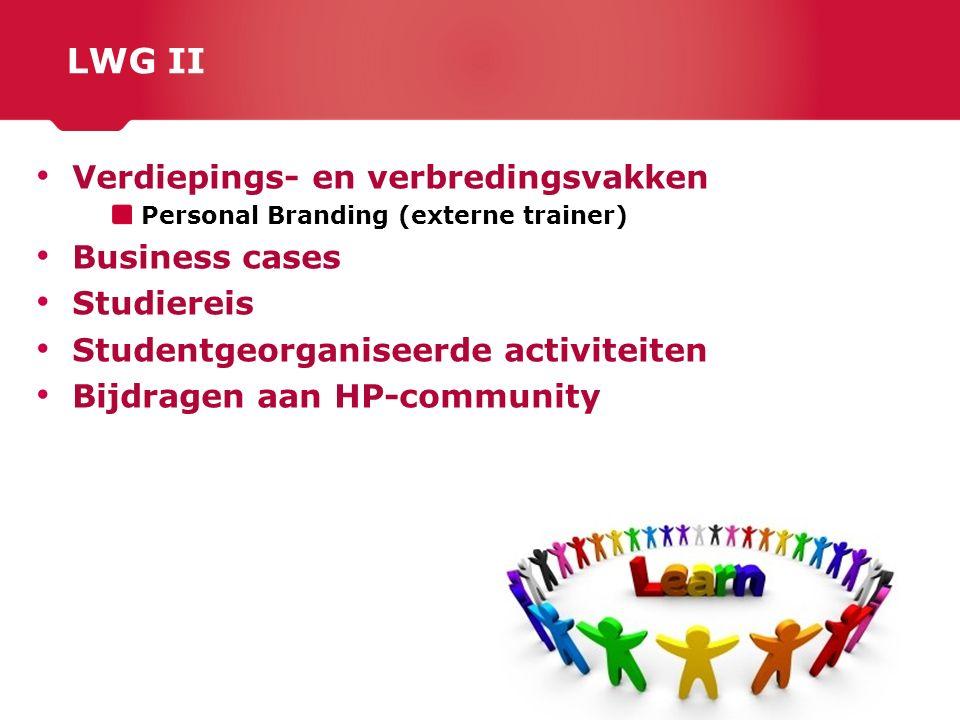 LWG II Verdiepings- en verbredingsvakken Business cases Studiereis