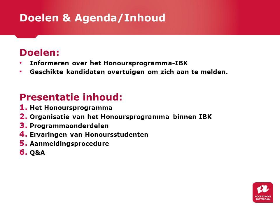 Doelen & Agenda/Inhoud