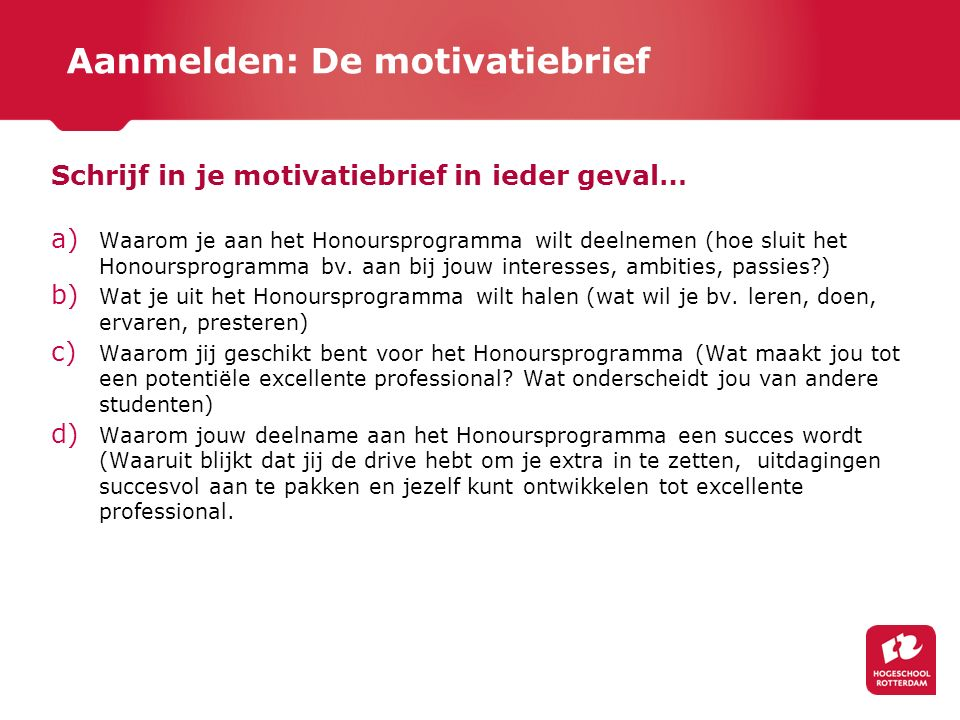 Aanmelden: De motivatiebrief