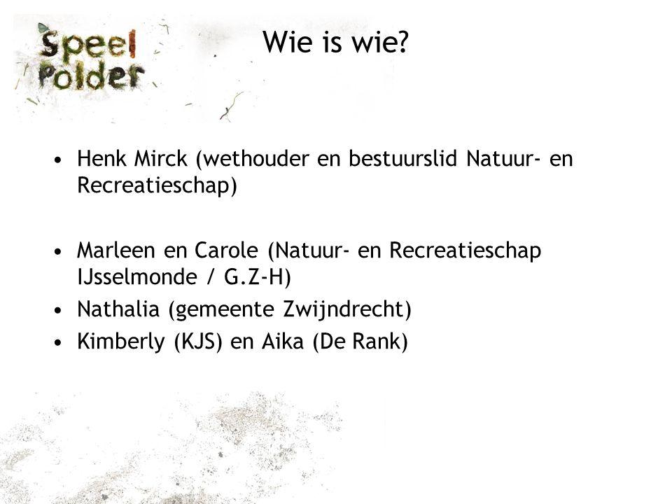 Wie is wie Henk Mirck (wethouder en bestuurslid Natuur- en Recreatieschap) Marleen en Carole (Natuur- en Recreatieschap IJsselmonde / G.Z-H)
