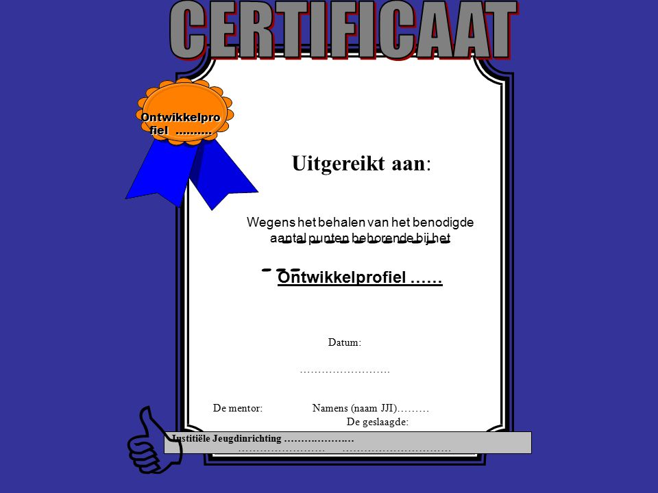 C CERTIFICAAT ------------ --- Uitgereikt aan: Ontwikkelprofiel ……