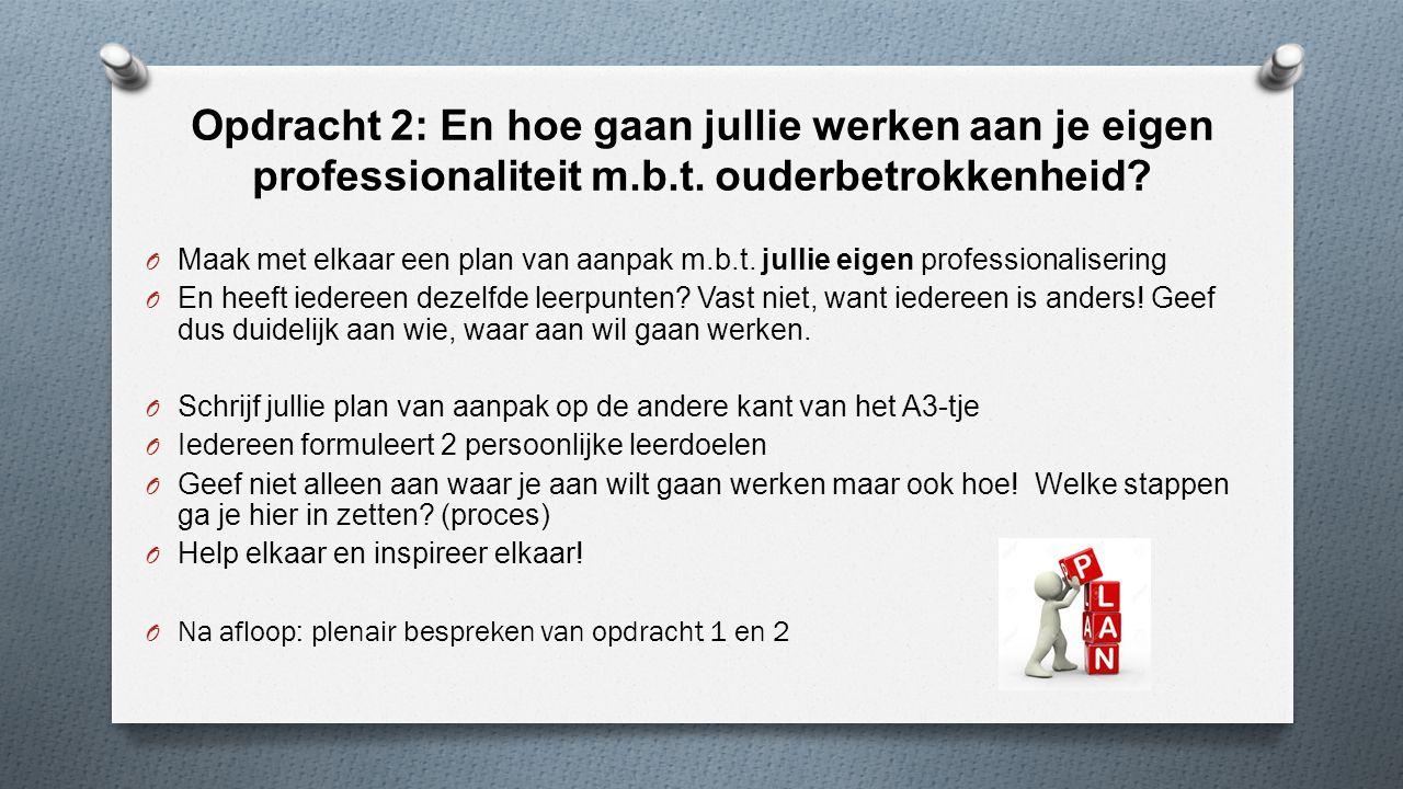 Opdracht 2: En hoe gaan jullie werken aan je eigen professionaliteit m
