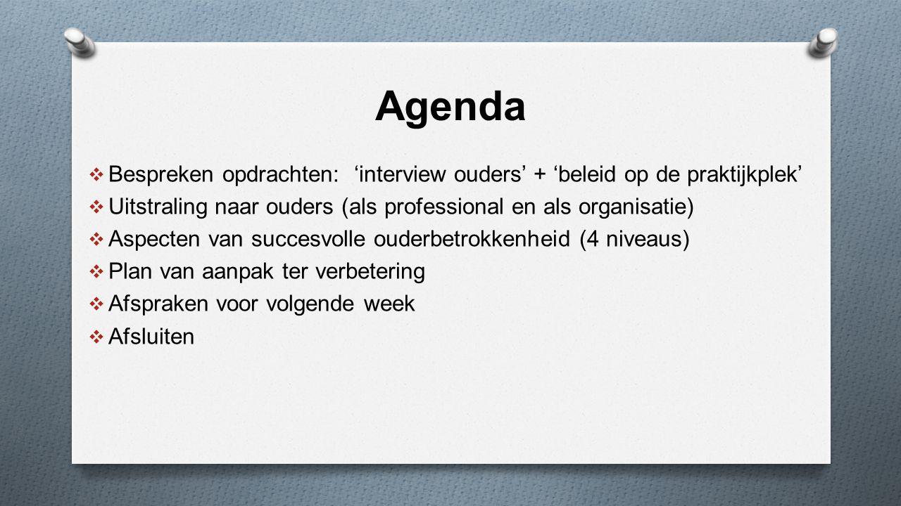 Agenda Bespreken opdrachten: 'interview ouders' + 'beleid op de praktijkplek' Uitstraling naar ouders (als professional en als organisatie)