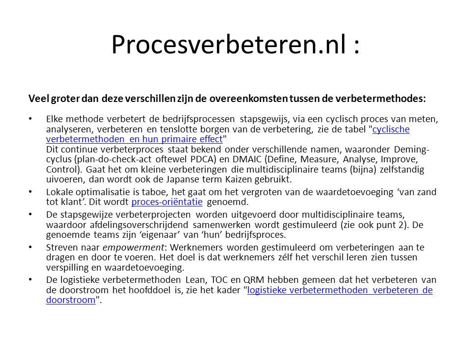 Procesverbeteren.nl : Veel groter dan deze verschillen zijn de overeenkomsten tussen de verbetermethodes: