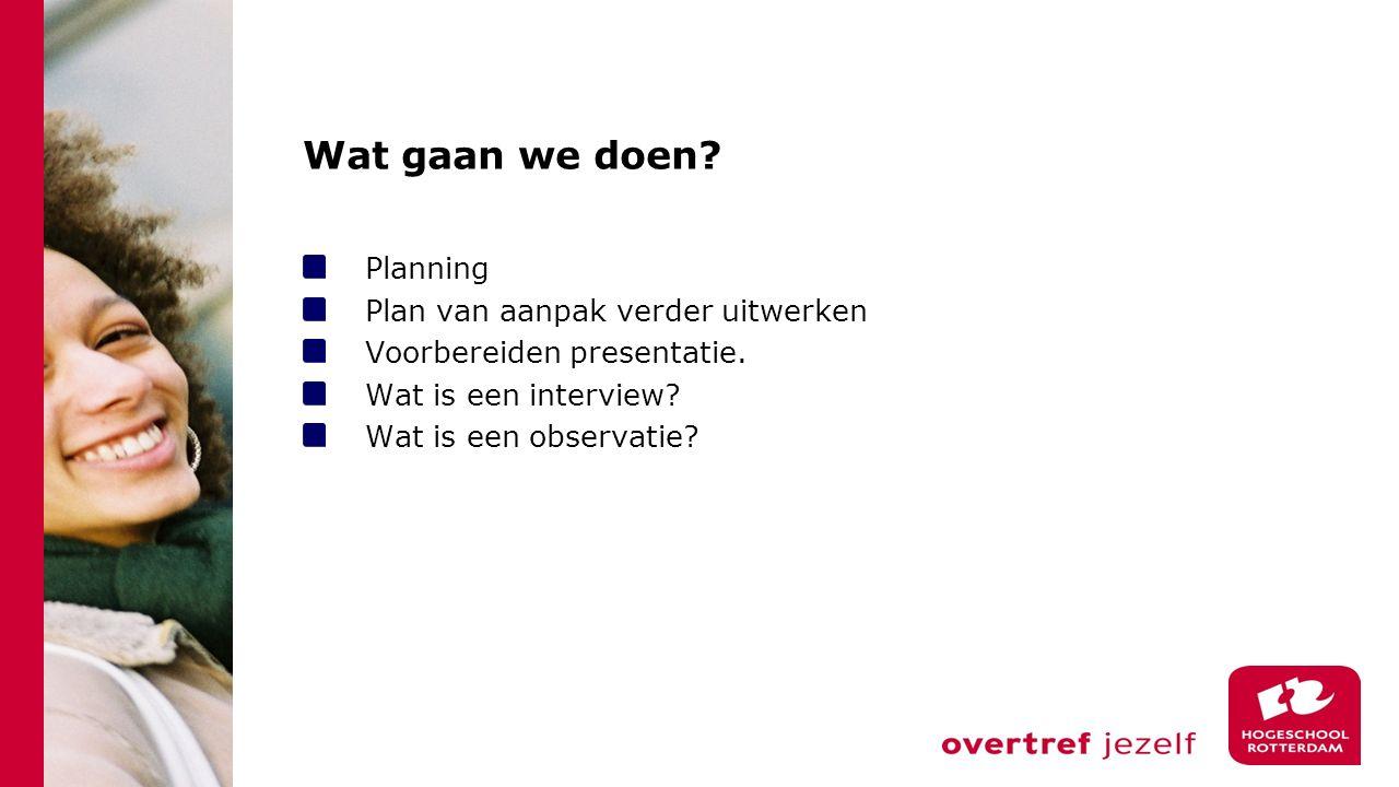 Wat gaan we doen Planning Plan van aanpak verder uitwerken