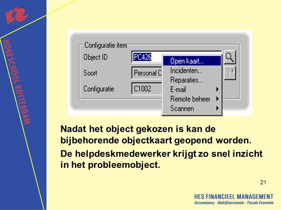 Nadat het object gekozen is kan de bijbehorende objectkaart geopend worden.