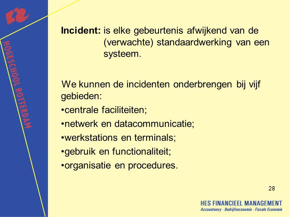 Incident: is elke gebeurtenis afwijkend van de (verwachte) standaardwerking van een systeem.