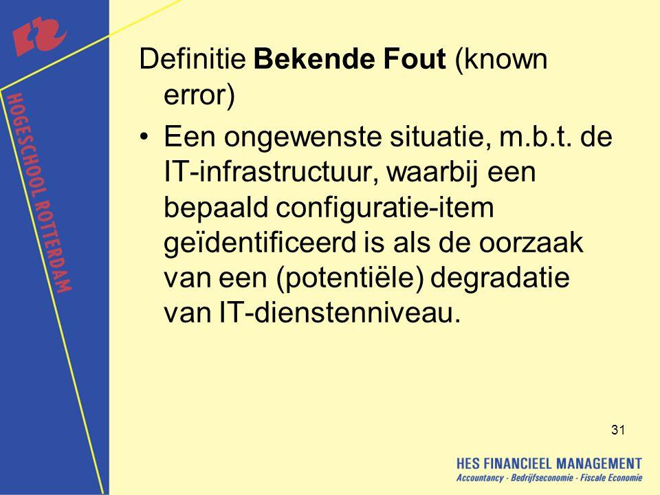 Definitie Bekende Fout (known error)