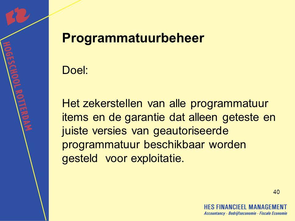 Programmatuurbeheer Doel: