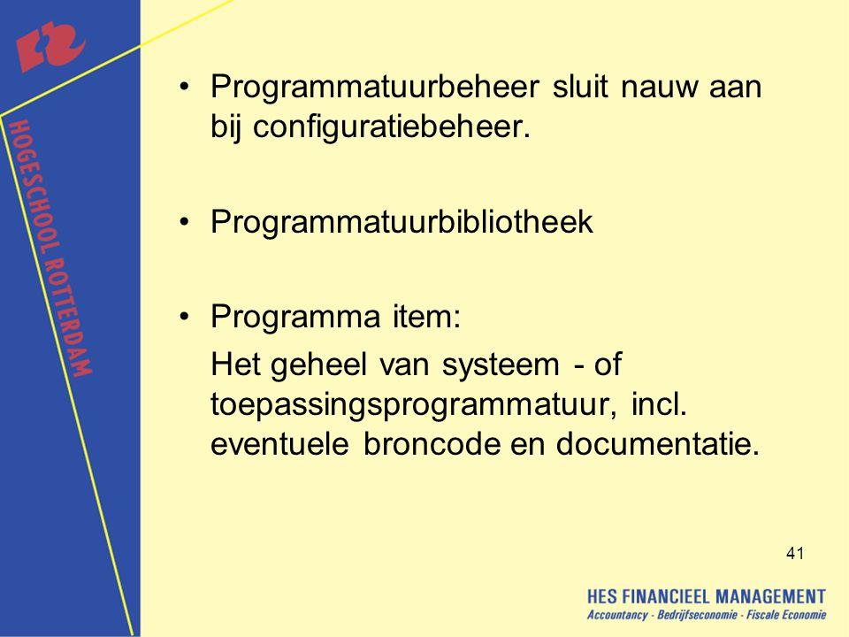 Programmatuurbeheer sluit nauw aan bij configuratiebeheer.