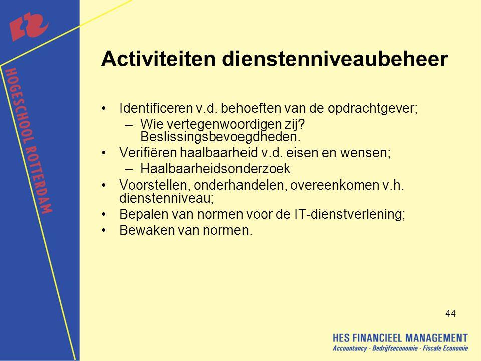 Activiteiten dienstenniveaubeheer