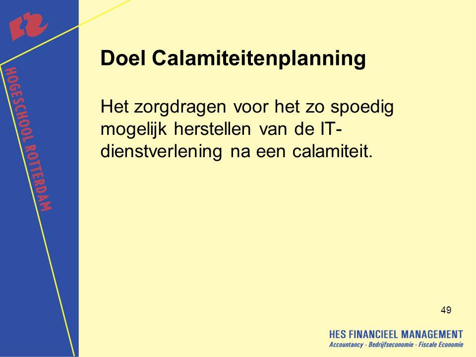 Doel Calamiteitenplanning