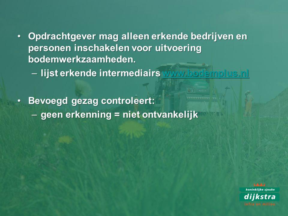 Opdrachtgever mag alleen erkende bedrijven en personen inschakelen voor uitvoering bodemwerkzaamheden.