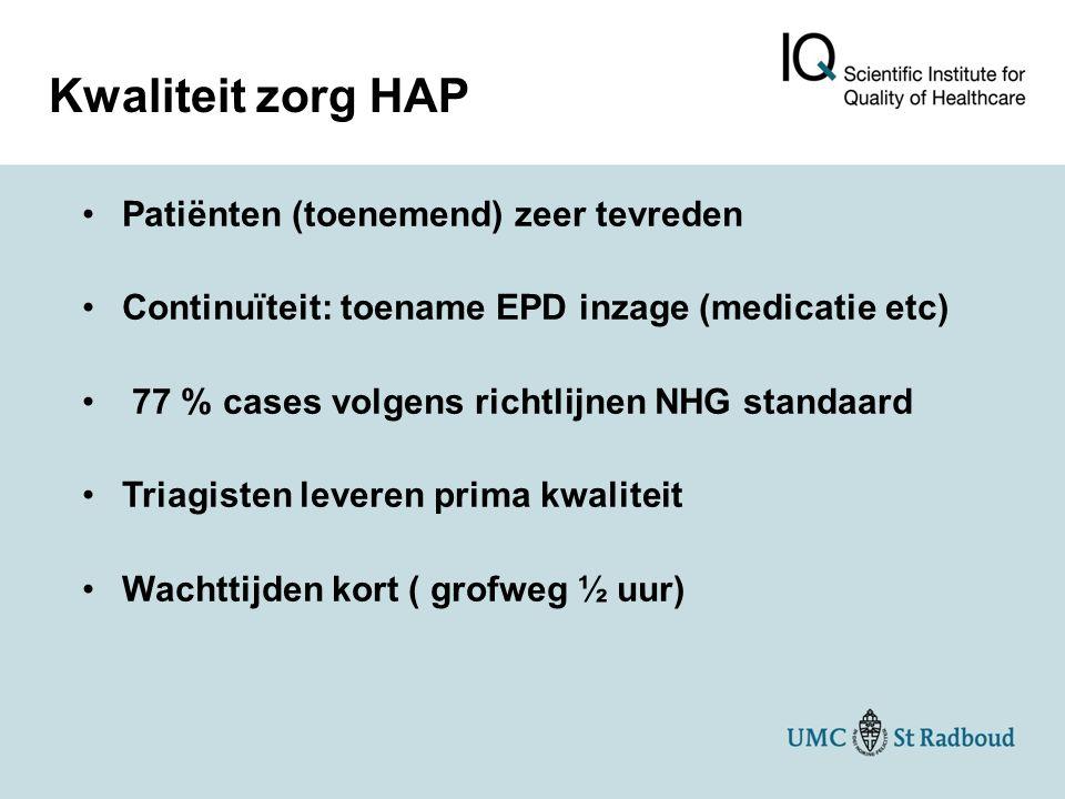 Kwaliteit zorg HAP Patiënten (toenemend) zeer tevreden