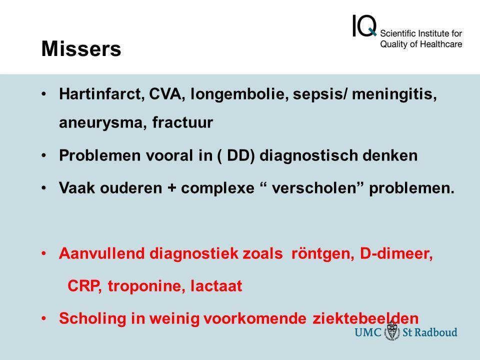 Missers Hartinfarct, CVA, longembolie, sepsis/ meningitis, aneurysma, fractuur. Problemen vooral in ( DD) diagnostisch denken.