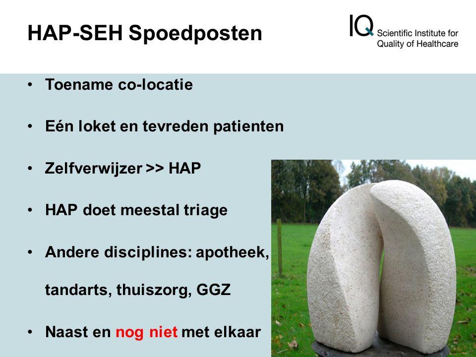 HAP-SEH Spoedposten Toename co-locatie Eén loket en tevreden patienten