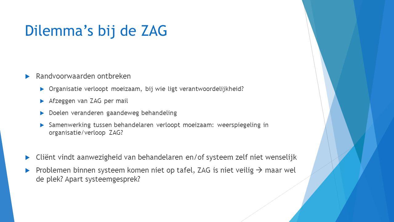 Dilemma's bij de ZAG Randvoorwaarden ontbreken