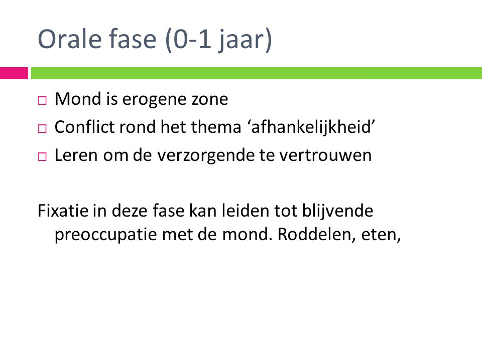 Orale fase (0-1 jaar) Mond is erogene zone
