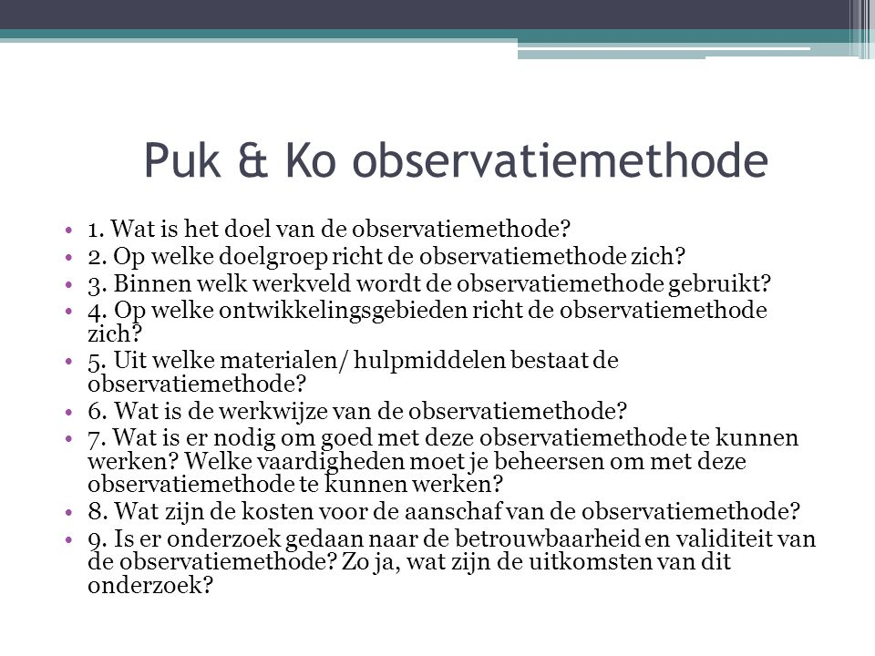Puk & Ko observatiemethode