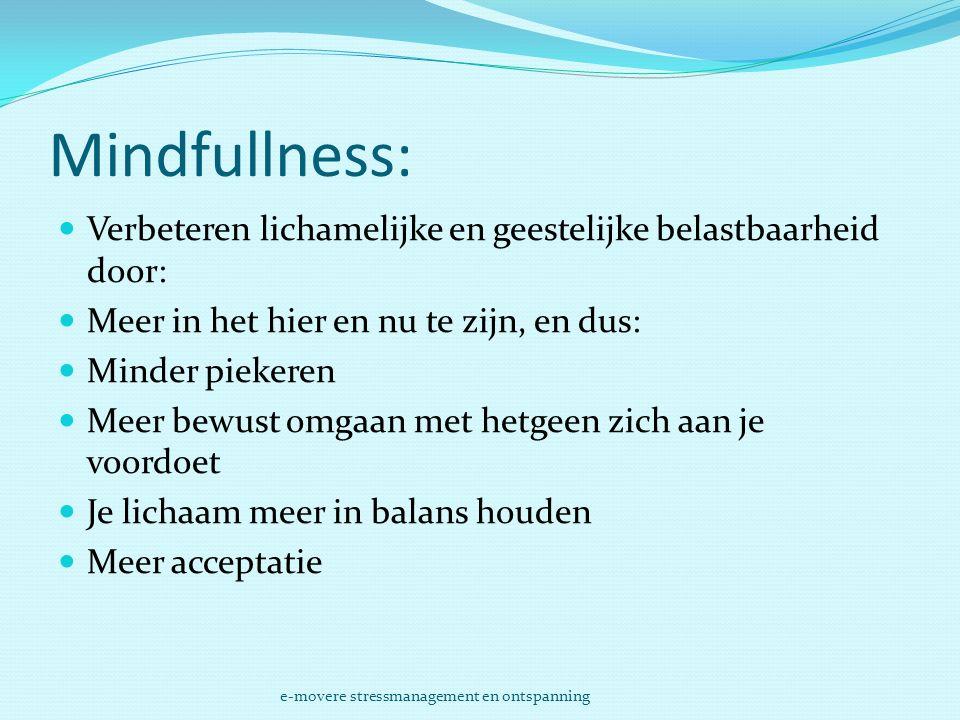 Mindfullness: Verbeteren lichamelijke en geestelijke belastbaarheid door: Meer in het hier en nu te zijn, en dus:
