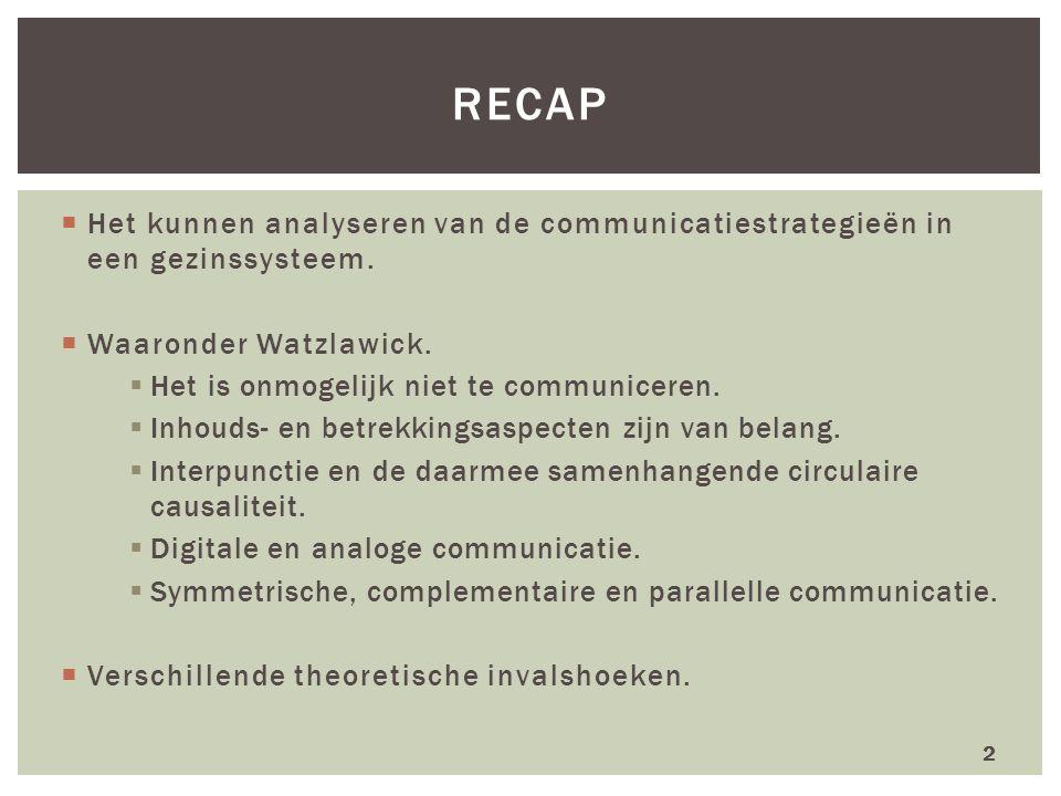 recap Het kunnen analyseren van de communicatiestrategieën in een gezinssysteem. Waaronder Watzlawick.