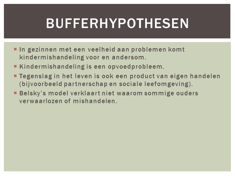 Bufferhypothesen In gezinnen met een veelheid aan problemen komt kindermishandeling voor en andersom.