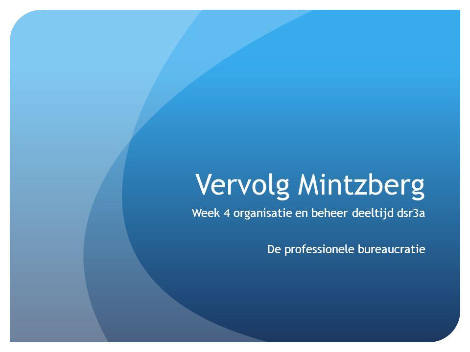 Vervolg Mintzberg Week 4 organisatie en beheer deeltijd dsr3a