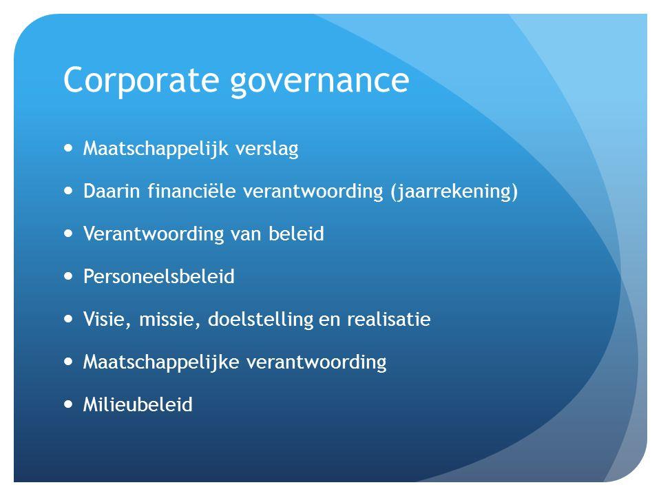 Corporate governance Maatschappelijk verslag
