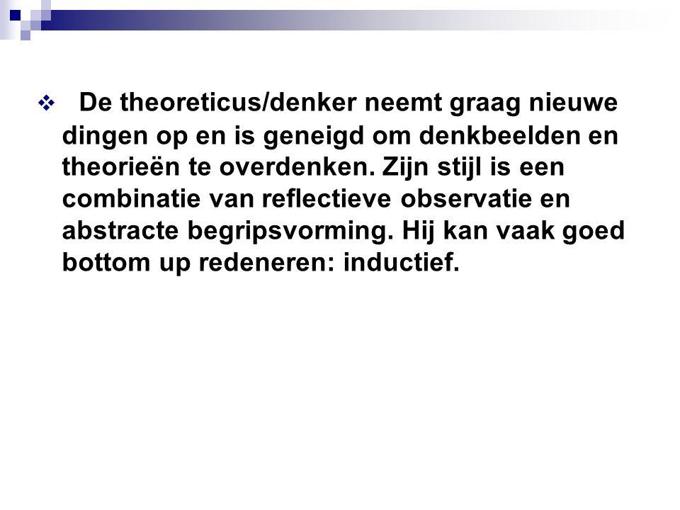 De theoreticus/denker neemt graag nieuwe dingen op en is geneigd om denkbeelden en theorieën te overdenken.